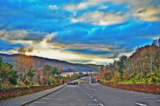 Road along Urquhart Castle on the left (not on the photo) in Inverness, Isle of Skye
