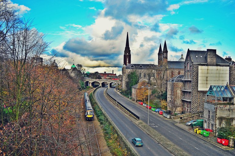 This is in Aberdeen. Taken from a highway above overlooking a train railway.