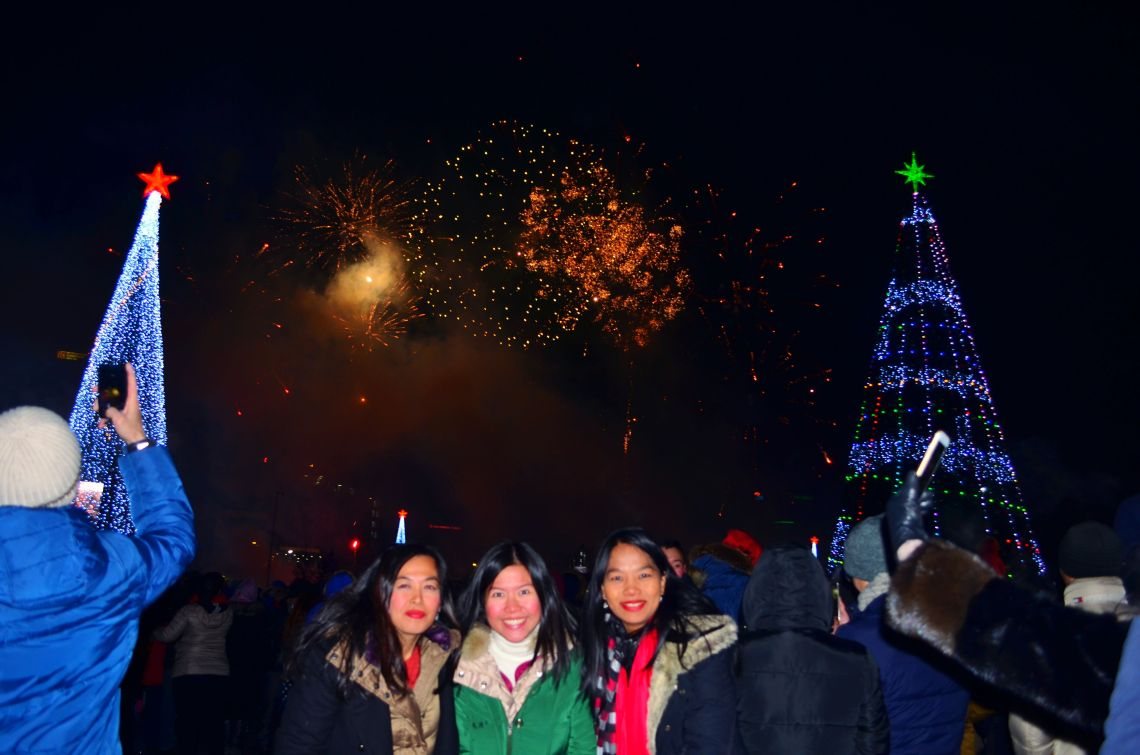 Three crazy girls spending the new year in Ulaan Baatar Square