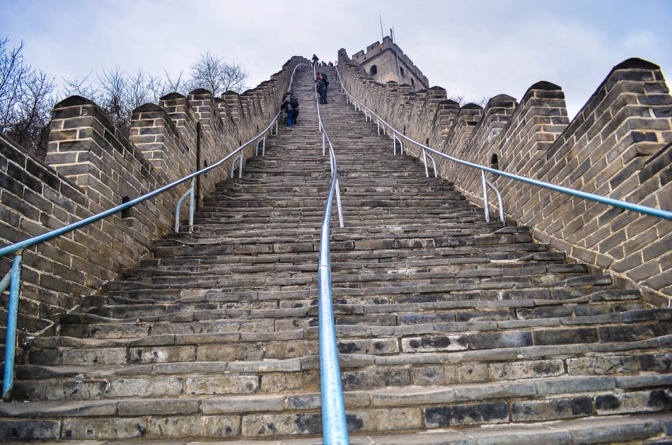 Steep steps to climb over